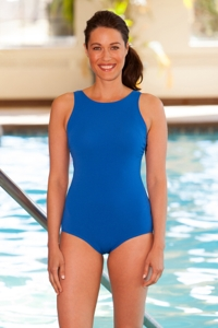 Aquamore High Neck One Piece Chlorine Resistant Swimsuit Cobalt Blue