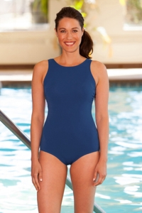 Aquamore High Neck One Piece Chlorine Resistant Swimsuit Navy