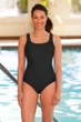 Chlorine Resistant Aquamore Black Shirred Scoop Neck One Piece Swimsuit