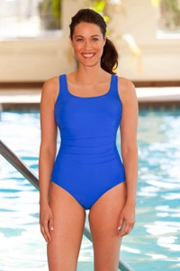 Chlorine Resistant Aquamore Blue Shirred Scoop Neck One Piece Swimsuit