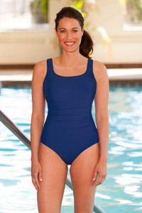 Chlorine Resistant Aquamore Navy Shirred Scoop Neck One Piece Swimsuit