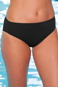 Chlorine Resistant Aquamore Black Classic Brief Swim Bottom