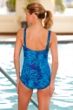 Waterpro Oasis Sarong Front One Piece Chlorine Resistant Swimsuit Blue