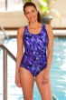 Waterpro Chlorine Resistant Purple Marina Racerback One Piece Swimsuit