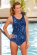 Dolfin Plus Size Lacey Chlorine Resistant Moderate Lap Swimsuit Blue