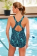 Dolfin Plus Size Lacey Power Back Chlorine Resistant Swimsuit Teal