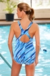 Dolfin Plus Size Cascade Power Back Chlorine Resistant Swimsuit Turquoise