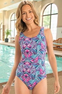 Chlorine Resistant Dolfin Aquashape Ibiza Moderate Scoop Back One Piece Swimsuit