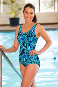 Dolfin Chlorine Resistant Plus Size Camo Chic Moderate Scoop Back Suit