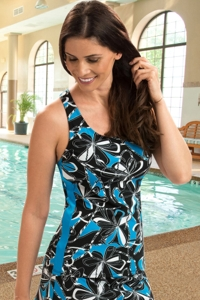 Dolfin Chlorine Resistant Knotty Flowers Turquoise Racerback Tankini Top