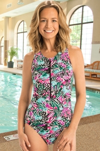 Chlorine Resistant Dolfin Aquashape Wild Hour Zip Front One Piece Swimsuit