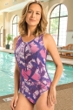 Chlorine Resistant Dolfin Mariposa Purple Aquashape Zip Front One Piece Swimsuit