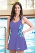 Dolfin Avanti Aqua and Purple Scoop Neck Chlorine Resistant Swimdress