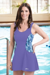 Dolfin Avanti Aqua and Purple Plus Size Scoop Neck Chlorine Resistant Swimdress