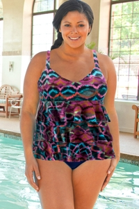 Chlorine Resistant Dolfin Aquashape Plus Size Morocco Ruffle Tier One Piece Swimsuit
