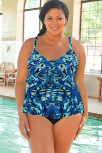 Chlorine Resistant Dolfin Aquashape Plus Size St. Lucia Blue Ruffle Tier One Piece Swimsuit