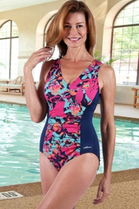 Chlorine Resistant Dolfin Pink Eden V-Neck One Piece Swimsuit