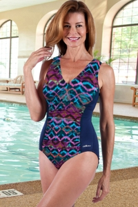 Dolfin Chlorine Resistant Plus Size Morocco V-Neck One Piece Swimsuit
