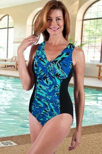 Dolfin Chlorine Resistant Plus Size St. Lucia V-Neck One Piece Swimsuit