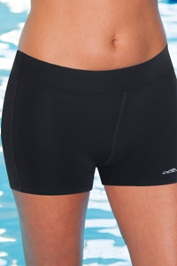 Dolfin Plus Size Solid Chlorine Resistant Fitted Short Swim Bottom Black