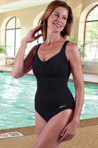 Chlorine Resistant Dolfin Black Twist Front One Piece Swimsuit