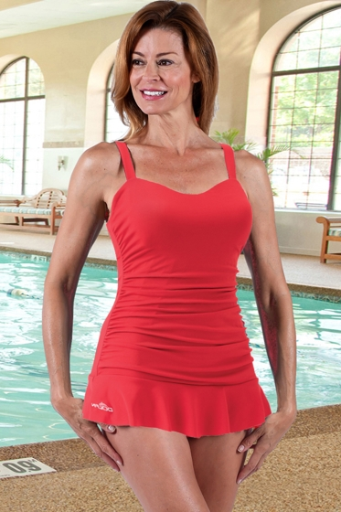 Dolfin Chlorine Resistant Sweetheart One Piece Swimdress Red
