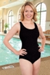 Krinkle Black Cross Back One Piece Chlorine Resistant Swimsuit
