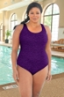Krinkle Acai Plus Size Cross Back One Piece Chlorine Resistant Swimsuit