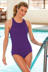 Krinkle High Neck One Piece Chlorine Resistant Swimsuit Acai Purple