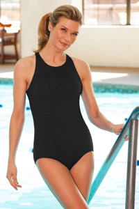 Krinkle High Neck One Piece Chlorine Resistant Swimsuit Black