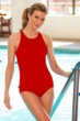 Krinkle Chlorine Resistant Red High Neck One Piece Swimsuit