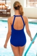 Krinkle High Neck One Piece Chlorine Resistant Swimsuit Royal