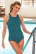 Krinkle High Neck One Piece Chlorine Resistant Swimsuit