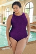 Krinkle Plus Size High Neck One Piece Chlorine Resistant Swimsuit
