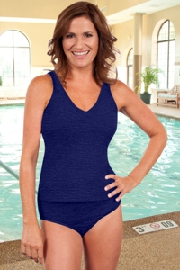 Krinkle Navy Two-Piece High Back Chlorine Resistant Tankini Set