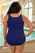 Krinkle Navy Plus Size Two-Piece High Back Chlorine Resistant Tankini Set