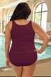 Krinkle Chlorine Resistant Plus Size High Back Two Piece Tankini Top and Bottom Set