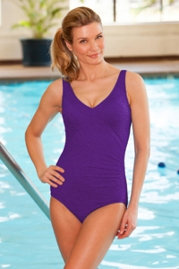 Krinkle Acai Mock Surplice One Piece Chlorine Resistant Swimsuit