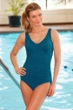 Krinkle Mykonos Mock Surplice One Piece Chlorine Resistant Swimsuit