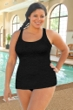 Krinkle Black Plus Size Sheath One Piece Chlorine Resistant Swimsuit