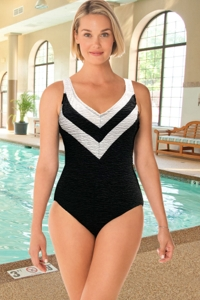 Krinkle Chlorine Resistant Black and White Sport Color Block V-Neck One Piece Swimsuit