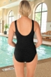 Krinkle Chlorine Resistant Black and White Sport Color Block V-Back One Piece Swimsuit