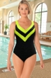 Krinkle Chlorine Resistant Glow Party Yellow Sport Color Block V-Neck One Piece Swimsuit