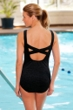 Krinkle Chlorine Resistant Black X-Back One Piece Swimsuit