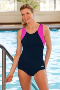 Dolfin Chlorine Resistant Plus Size Moderate Color Block Lap Suit