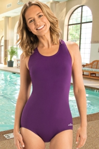 Chlorine Resistant Dolfin Plus Size Aquashape Eggplant Power Back Conservative Lap One Piece Swimsuit