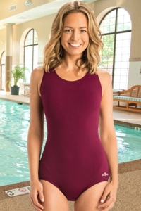 Chlorine Resistant Dolfin Aquashape Maroon Power Back Conservative Lap One Piece Swimsuit