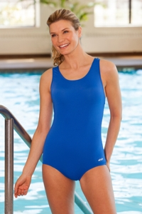 Dolfin Power Back Solid Polyester One Piece Chlorine Resistant Swimsuit Royal