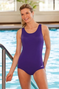 Dolfin Plus Size Power Back Solid Polyester One Piece Chlorine Resistant Swimsuit Purple