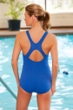 Dolfin Plus Size Power Back Solid Polyester One Piece Chlorine Resistant Swimsuit Royal